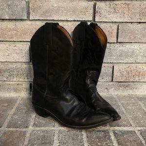 Women's Black Leather Cowboy Boots, Size 9